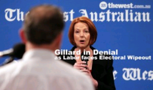Gillard in Denial as her support amongst males collapses